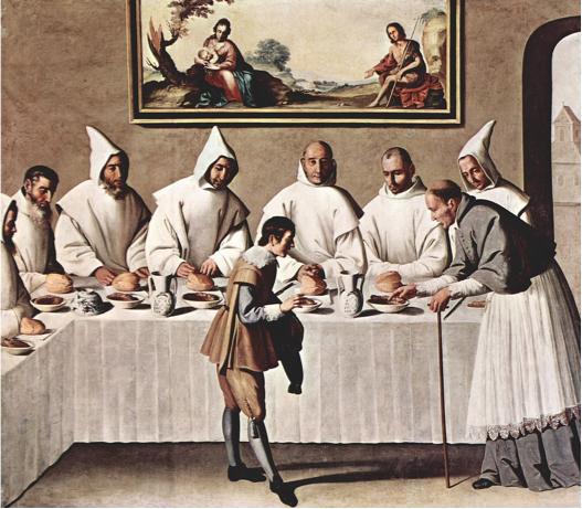 Painting of the Carthusian cloister of Nuestra Señora de las Cuevas in Seville by Francisco de Zurbarán.
