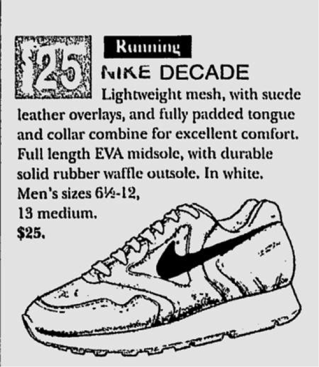 Detail of the 1997 Nike advertisement for the  Decade  model 0b6ea04a3