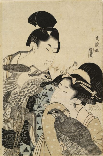 'Wakashu and Young Woman with Hawks,' Bunrō , ca. 1803. Gift of Ramsay and Eleanor Cook. Courtesy of the Royal Ontario Museum.