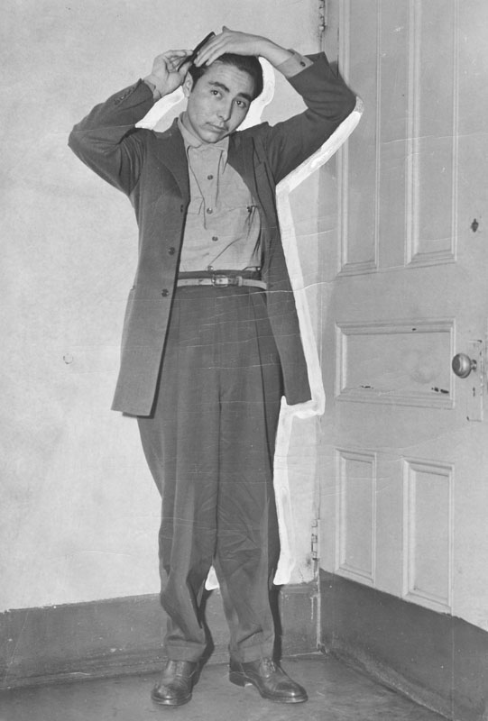 Joaquin Porras, a zoot suit youth, was held as a robbery suspect on Friday, November 6, 1942. Photo courtesy of the Los Angeles Public Library.