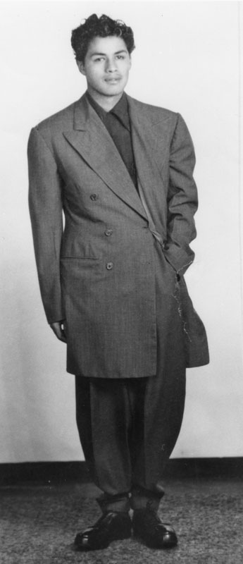 A young man wears his drapes, a variation on the zoot suit widely popular in the 1940s. Courtesy of the Los Angeles Public Library.