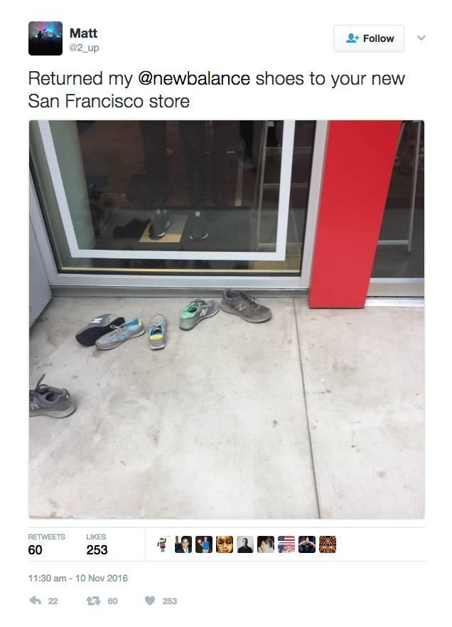 A tweet from one of the outraged New Balance customers.