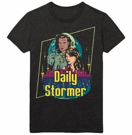 The official T-shirt from neo-Nazi site The Daily Stormer features a nostalgic throwback to 80's sci-fi visual culture.