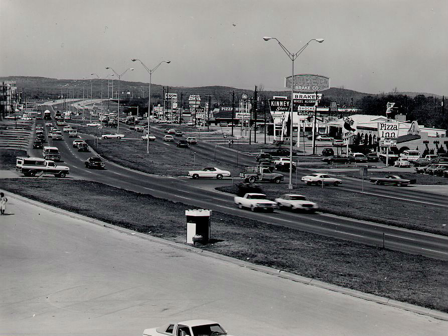 A photograph of Ben White highway in South Austin, April 1977.