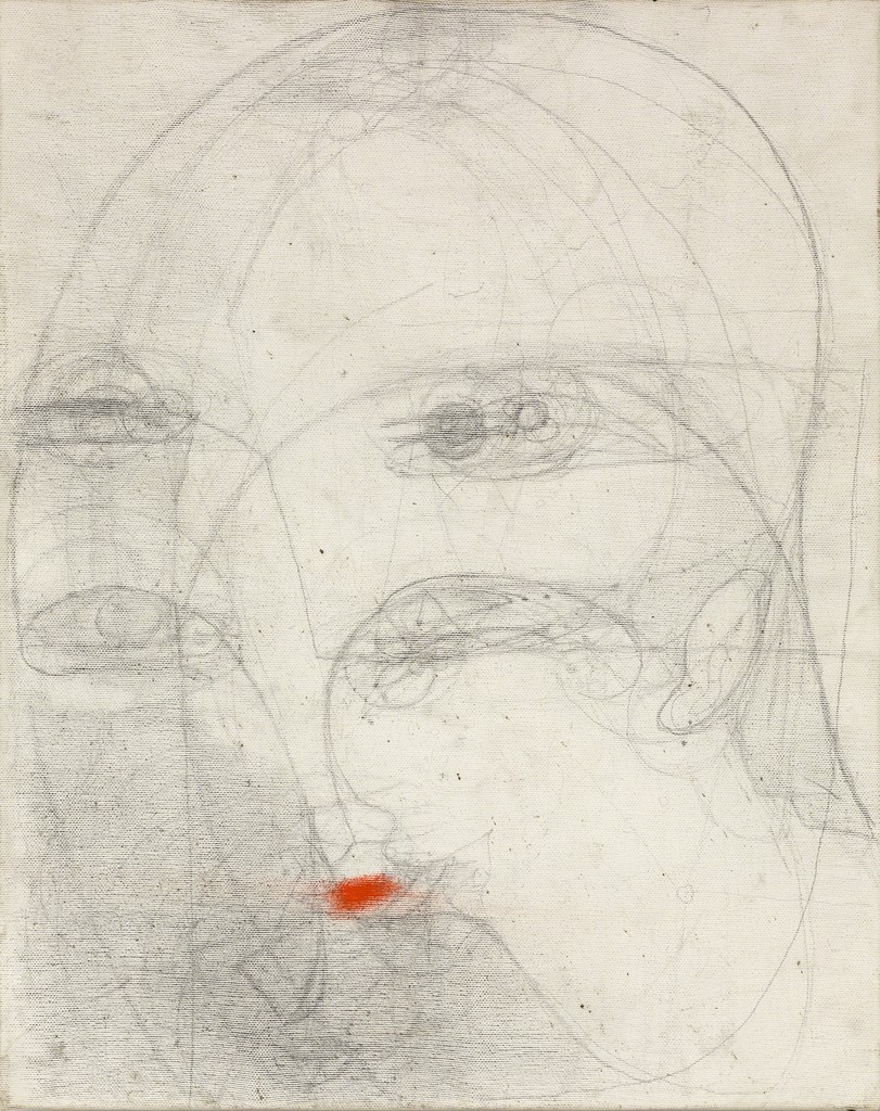 Marisa Merz, 'Untitled,' Undated. Graphite and lipstick on canvas. The only female member of Italy's postwar Arte Povera movement, Merz frequently used non-traditional, quotidian materials in her paintings and sculptures. In 2017, the Met Breuer presented the first major US retrospective of Merz's work.