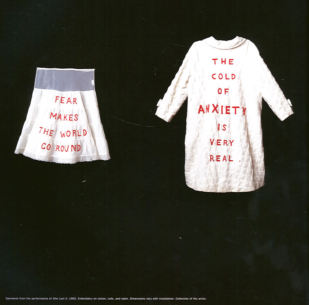 Garments created by Louise Bourgeois for her 1992 performance 'She Lost It' at the Fabric Workshop and Museum in Philadelphia, Pennsylvania.