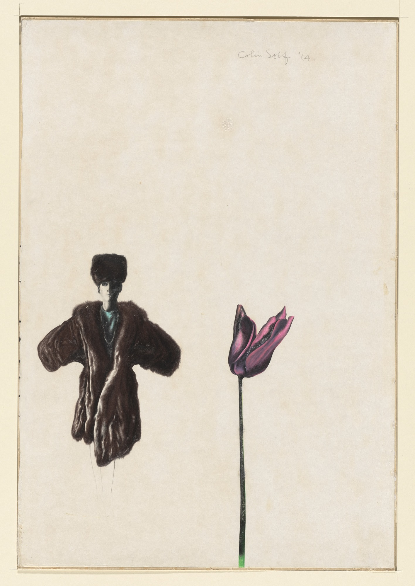 """Woman in a Fur Coat and Tulip,"" 1964, Colin Self. Courtesy of the Museum of Modern Art."